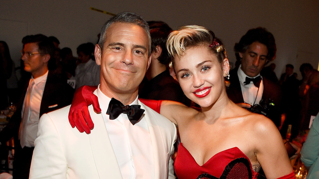 Andy Cohen and Miley Cyrus attend the amfAR Inspiration Gala New York with FIJI Water at Spring Studios on June 16, 2015 in New York City.
