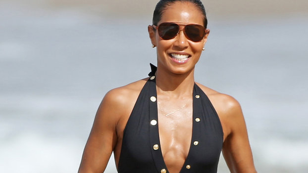 Jada Pinkett Smith Shows Off Beach Ready Bod In A Plunging