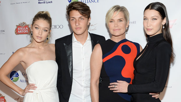 The Hadid family, from left, Gigi Hadid, Anwar Hadid, Yolanda Foster and Bella Hadid attend the Global Lyme Alliance Inaugural Gala at Cipriani 42nd Street on Thursday, Oct. 8, 2015, in New York.