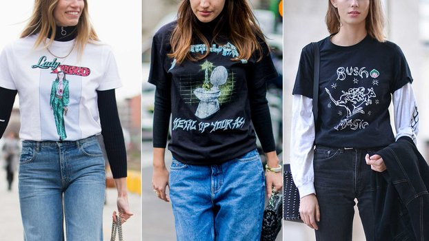 2016 Street Style Trend at Fashion Week  Layering T-Shirts d062f783c30