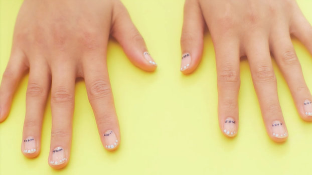 Nail Art Know How: Dotted Half Moon Manicure