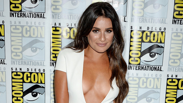Lea Michele Turns Heads In Super Low Plunging White Dress