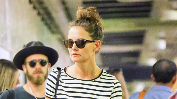 Katie Holmes Rides NYC Subway In Striped Top And Ballet Flats