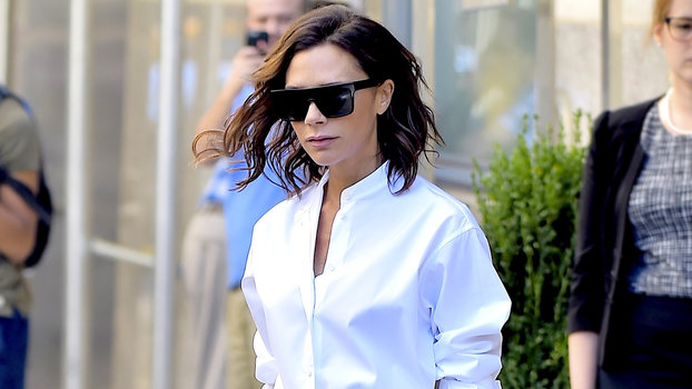455d5be1c Victoria Beckham's Wears White Shirt and Pleated Skirt in N.Y.C. |  InStyle.com