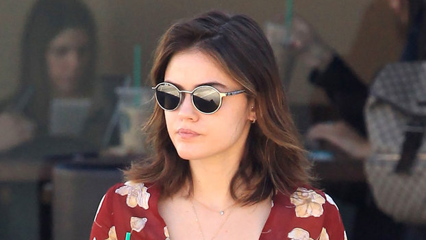Studio City, CA - Studio City, CA - Pretty Little Liars actress, Lucy Hale, is seen starting off her Monday morning right with an iced latte from Starbucks.