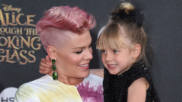 Pinks Hair Style: Pink's Daughter Rocks Pink Hair As She Holds Her Baby