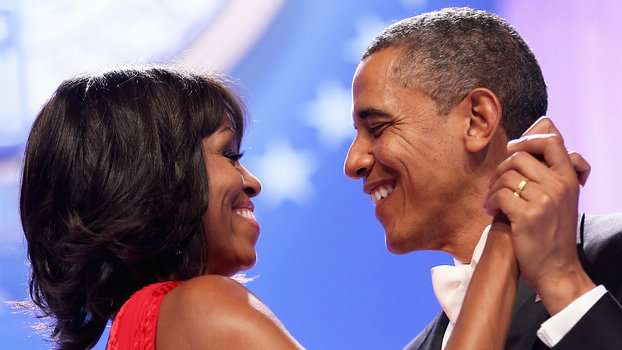WASHINGTON, DC - JANUARY 21:  U.S. President Barack Obama and first lady Michelle Obama dance together during the Comander-in-Chief's Inaugural Ball at the Walter Washington Convention Center January 21, 2013 in Washington, DC. Obama was sworn-in for his