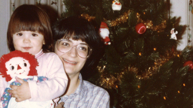 Leigh Belz Ray and her mother Lois Belz in December 1981. Note: Lois Belz really disliked that kneeling Santa.