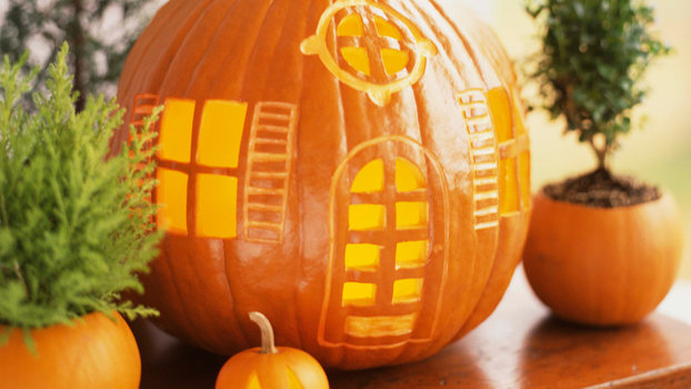 Pumpkins carved into house