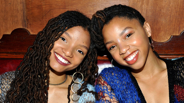 Actors/singers Halle Bailey (L) and Chloe Bailey
