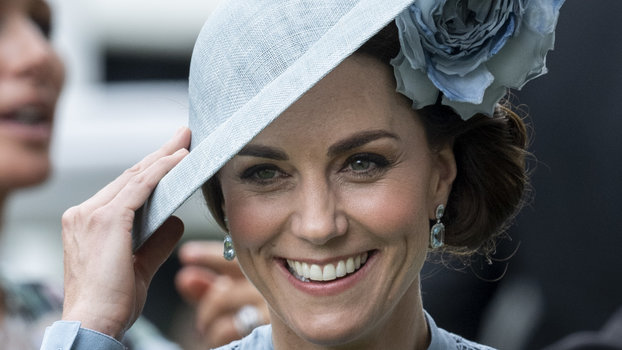 Kate Middleton Twinned with the Queen in a Pastel Dress with Sheer Detailing