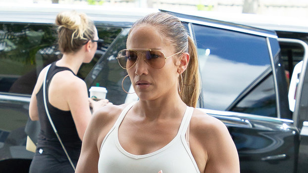Jennifer Lopez's Latest Bold Gym Look Includes White Leggings and Two Bras