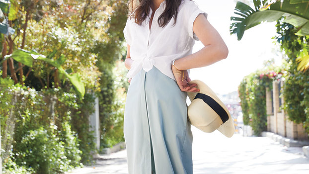 White Shirt and Maxi Skirt