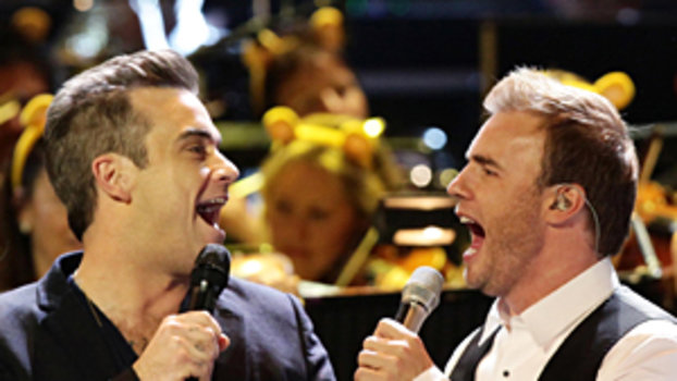 Robbie in tears at Take That reunion