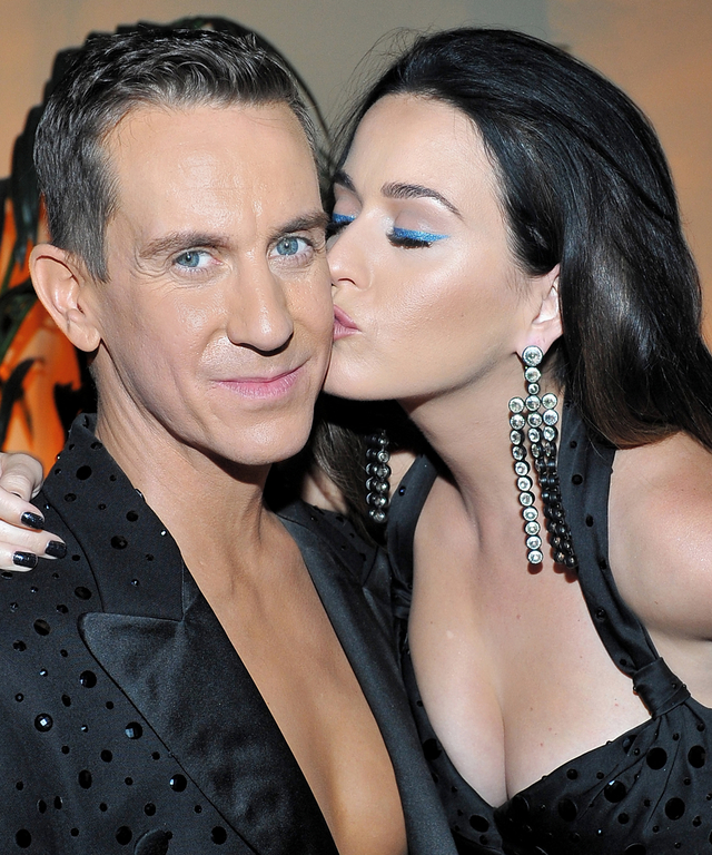 """HOLLYWOOD, CA - SEPTEMBER 08:  Designer Jeremy Scott (L) and singer Katy Perry attend """"Jeremy Scott - The People's Designer"""" afterparty hosted by The Rooftop at The Hollywood Roosevelt Hotel on September 8, 2015 in Hollywood, California.  (Photo by Donato"""