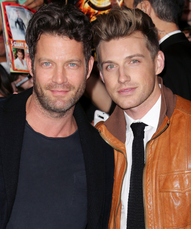 "LOS ANGELES, CA - NOVEMBER 18:  TV personality Nate Berkus (L) and Jeremiah Brent attend the premiere of Lionsgate's ""The Hunger Games: Catching Fire"" at Nokia Theatre L.A. Live on November 18, 2013 in Los Angeles, California.  (Photo by David Livingston/"