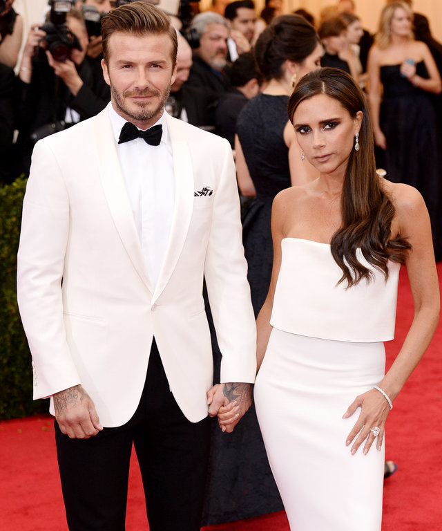 "NEW YORK, NY - MAY 05:  David Beckham and Victoria Beckham attend the ""Charles James: Beyond Fashion"" Costume Institute Gala held at the Metropolitan Museum of Art on May 5, 2014 in New York City.  (Photo by Karwai Tang/FilmMagic)"