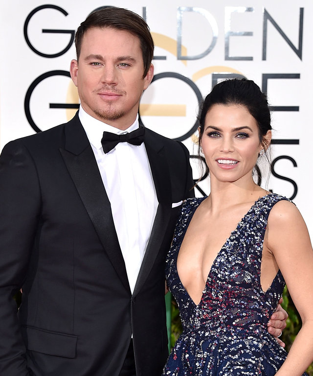 BEVERLY HILLS, CA - JANUARY 10:  Actors Channing Tatum, left, and Jenna Dewan-Tatum attend the 73rd Annual Golden Globe Awards held at the Beverly Hilton Hotel on January 10, 2016 in Beverly Hills, California.  (Photo by John Shearer/Getty Images)