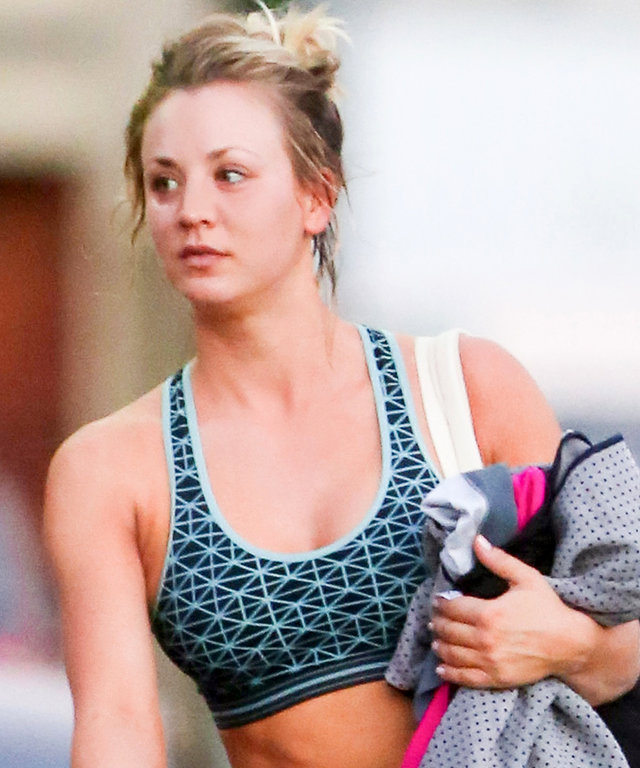 """Kaley Cuoco shows off her Fit body after a hard yoga class. The actress' body was fit and athletic. She and her close friend were having a hilarious convo and Kaley couldn't help but burst into tears from the joke. She was sporting a witty, """"We've All Got"""