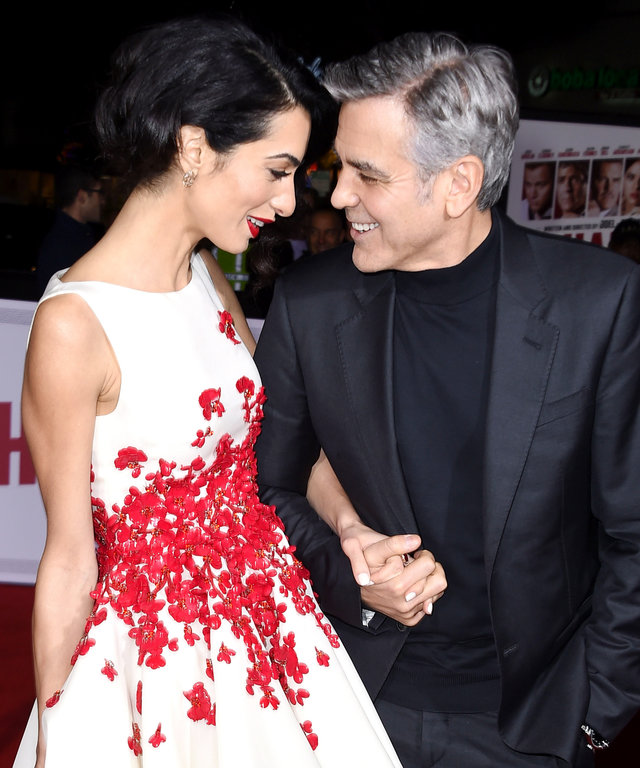 WESTWOOD, CA - FEBRUARY 01:  George Clooney and Amal Clooney arrives at the Premiere Of Universal Pictures'  Hail, Caesar!   at Regency Village Theatre on February 1, 2016 in Westwood, California.  (Photo by Steve Granitz/WireImage)