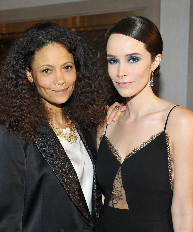 Actresses Thandie Newton (L) and Abigail Spencer attend InStyle And Jimmy Choo's Girls Night In hosted by Jimmy Choo's Creative Director Sandra Choi at L'Ermitage on February 23, 2016 in Los Angeles, California.