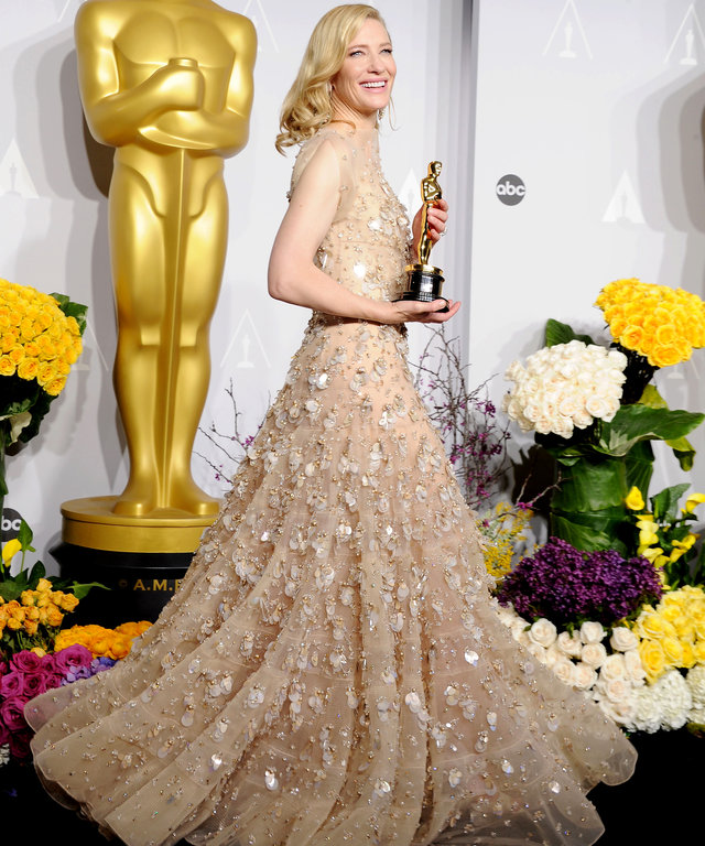 HOLLYWOOD, CA- MARCH 02: Actress Cate Blanchett winner of Best Performance by an Actress in a Leading Role poses in the press room during the 86th Annual Academy Awards at Loews Hollywood Hotel on March 2, 2014 in Hollywood, California.(Photo by Jeffrey M