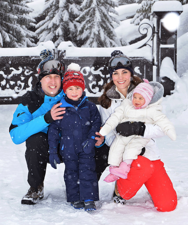 Catherine, Duchess of Cambridge and Prince William, Duke of Cambridge, with their children, Princess Charlotte and Prince George, enjoy a short private skiing break on March 3, 2016 in the French Alps, France.