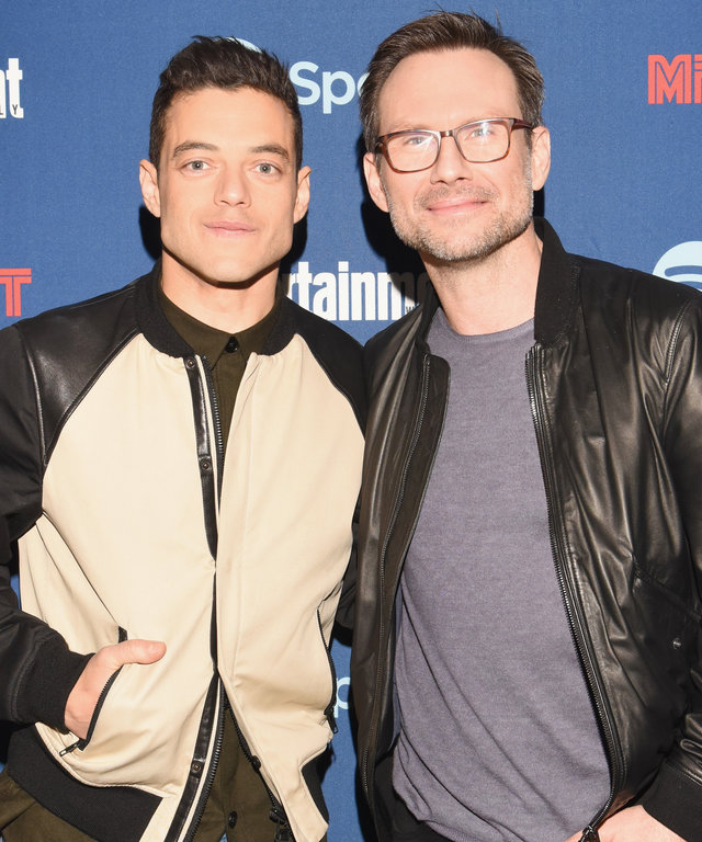 Actors Rami Malek and Christian Slater attend a dinner hosted by Entertainment Weekly celebrating Mr. Robot at the Spotify House in Austin, TX during SXSW on March 12, 2016 in Austin, Texas.