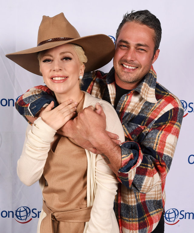 Lady Gaga and Taylor Kinney pose at Tupelo on March 12, 2016 in Park City, Utah.