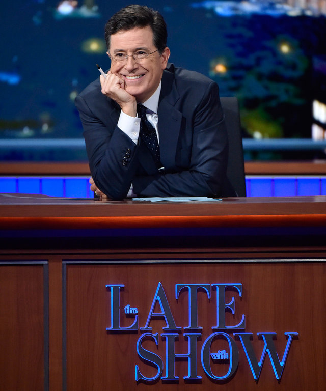 NEW YORK - SEPTEMBER 28: Stephen Colbert on The Late Show with Stephen Colbert, Monday Sept. 28, 2015 on the CBS Television Network. (Photo by John Paul Filo/CBS via Getty Images)