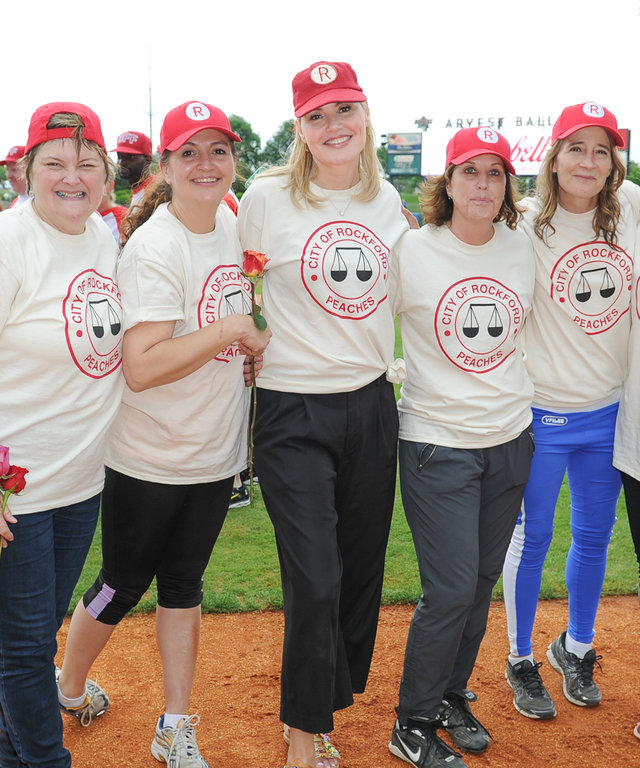 Megan Cavanagh, Tracy Reiner, Geena Davis, Patti Pelton, Anne Ramsay and Freddie Simspon attend 'A League Of Their Own' event at Geena Davis' 2nd Annual Bentonville Film Festival Championing Women And Diverse Voices In Media - Day 6 on May 8, 2016 in Bent
