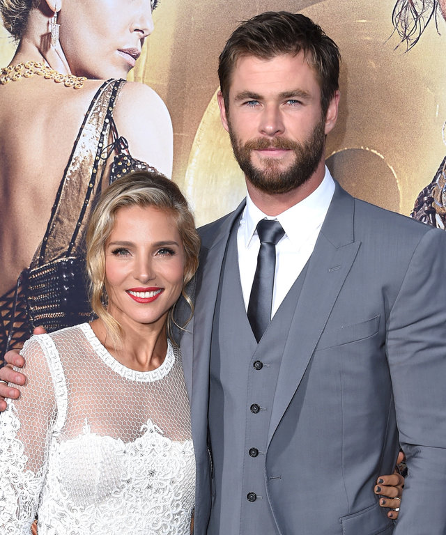 Chris Hemsworth and Elsa Pataky arrives at the Premiere Of Universal Pictures' 'The Huntsman: Winter's War' on April 11, 2016 in Westwood, California.