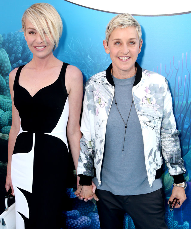 HOLLYWOOD, CA - JUNE 08:  Actress Portia de Rossi and actress Ellen DeGeneres attend the world premiere of Disney-Pixar's 'Finding Dory' at the El Capitan Theatre on June 8, 2016 in Hollywood, California.  (Photo by Todd Williamson/Getty Images)