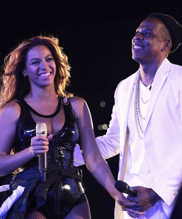 "PARIS, FRANCE - SEPTEMBER 12:  Beyonce and Jay-Z perform during the ""On The Run Tour: Beyonce And Jay-Z"" at the Stade de France on September 12, 2014 in Paris, France.  (Photo by Myrna Suarez/WireImage for Parkwood Entertainment)"