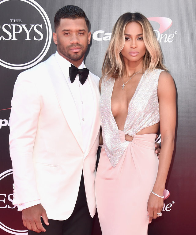 LOS ANGELES, CA - JULY 13:  Football player Russell Wilson and recording artist Ciara attend the 2016 ESPYS at Microsoft Theater on July 13, 2016 in Los Angeles, California.  (Photo by Alberto E. Rodriguez/Getty Images)