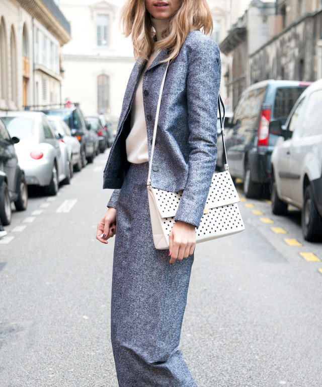 PARIS, FRANCE - MARCH 01: Model and Fashion Blogger Candela Novembre wears an Arthur Arbesser suit, Zara shoes and Stella McCartney bag  on day 5 of Paris Collections: Women on March 01, 2014 in Paris, France.  (Photo by Kirstin Sinclair/Getty Images)
