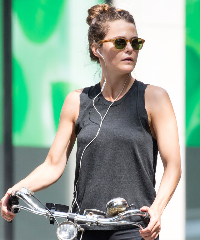 NEW YORK, NY - AUGUST 11:  Keri Russell seen on bicycle on August 11, 2016 in New York City.  (Photo by Team GT/GC Images)