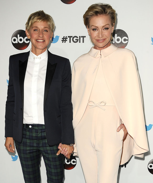 WEST HOLLYWOOD, CA - SEPTEMBER 20:  Ellen DeGeneres and Portia de Rossi attend the #TGIT premiere event hosted by Twitter at Palihouse Holloway on September 20, 2014 in West Hollywood, California.  (Photo by Jason LaVeris/FilmMagic)