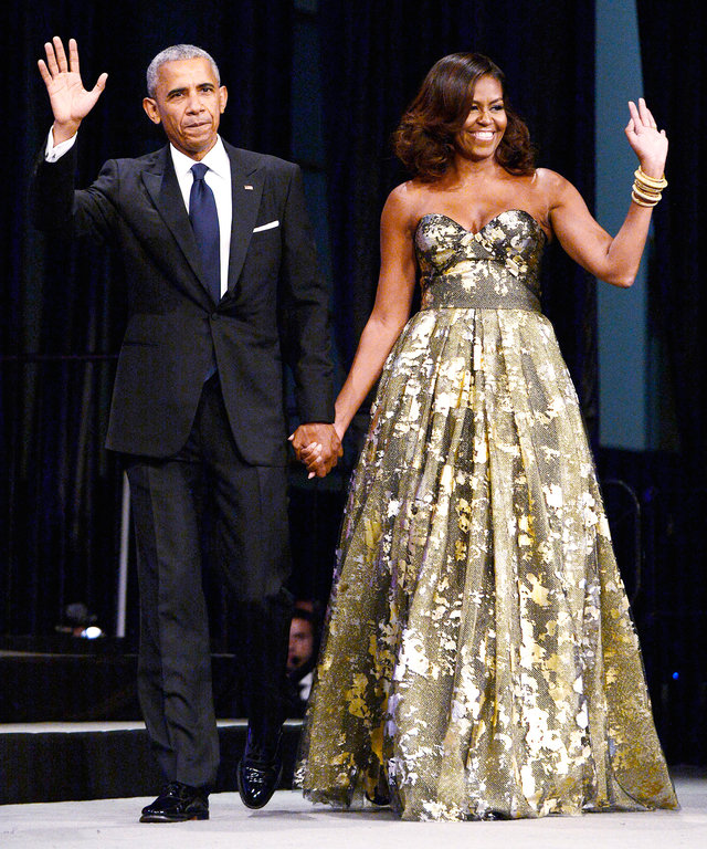 Michelle Obama Glows in Gilded Naeem Khan at a D.C. Awards Dinner