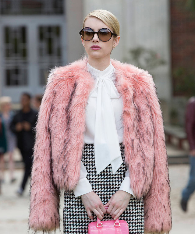 "SCREAM QUEENS: Emma Roberts as Chanel Oberlin in ""Pilot,"" the first part of the special, two-hour series premiere of SCREAM QUEENS airing Tuesday, Sept. 22 (8:00-10:00 PM ET/PT) on FOX. (Photo by FOX via Getty Images)"