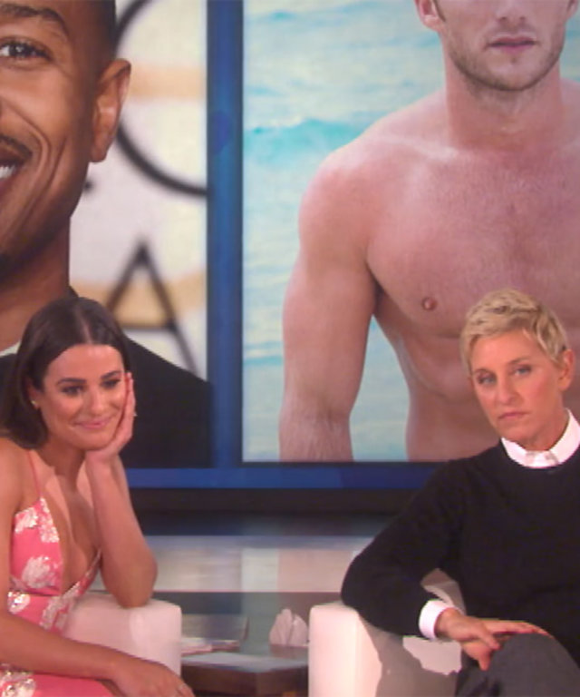 "Watch Lea Michele Choose Between Leonardo DiCaprio and Calvin Harris for ""Who'd You Rather?"" on Ellen"