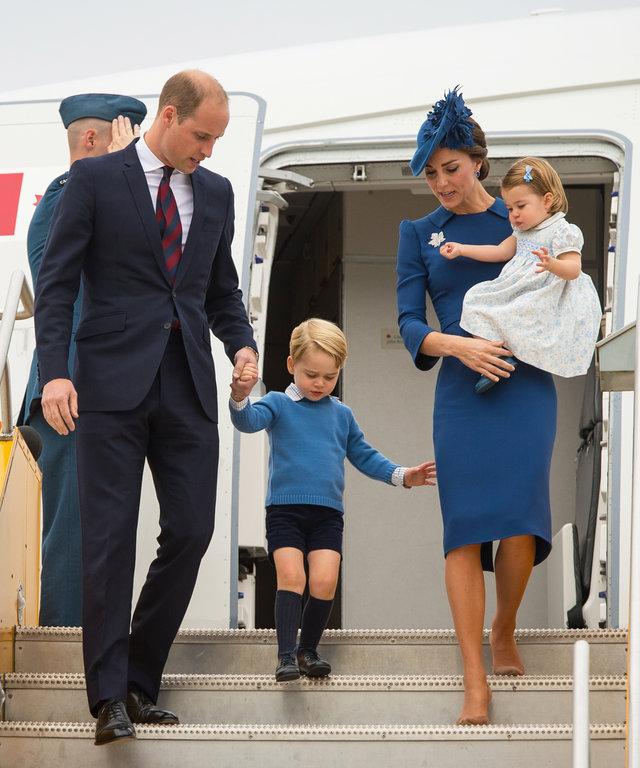 VICTORIA, BC - SEPTEMBER 24:   Prince William, Duke of Cambridge, Catherine, Duchess of Cambridge, Prince George of Cambridge and Princess Charlotte of Cambridge arrive at Victoria International Airport on September 24, 2016 in Victoria, Canada.