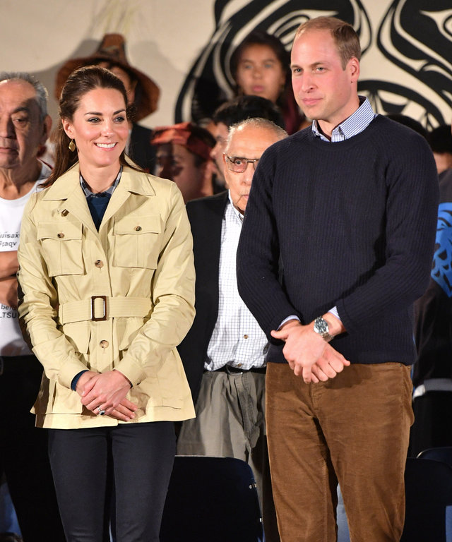 Kate Middleton and Prince William Brave the Rain for a Traditional Welcome in Bella Bella
