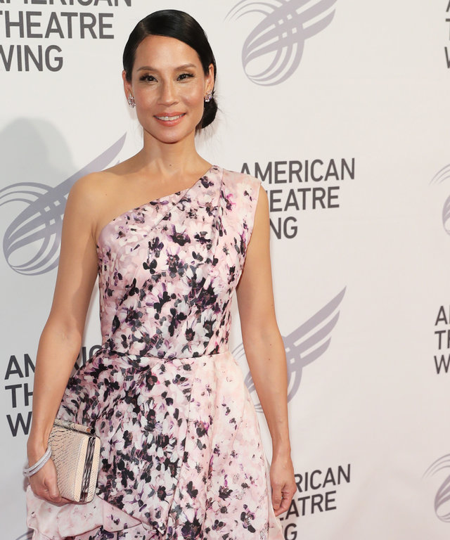Lucy Liu Radiates Elegance in a Floral One-Shouldered Gown at the American Theatre Wing Gala