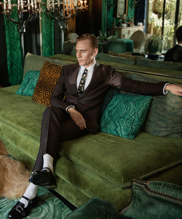 Tom Hiddleston Teams Up with a Trio of Afghan Hounds for Gucci's Latest Ad Campaign