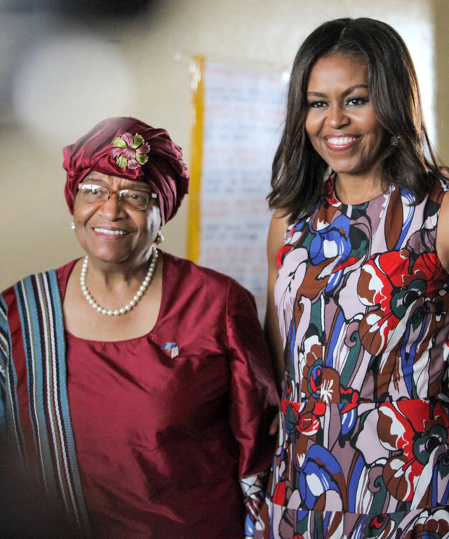 First Lady Michelle Obama with Liberian President Ellen Johnson Sirleaf