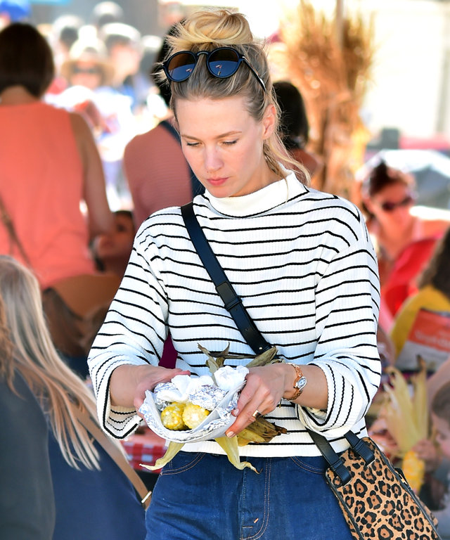 EXCLUSIVE: January Jones and her son Xander join Tom Ford's Husband Richard Buckley and son Alexander on a day at the pumpkin patch and farm. The group spent the day at Underwood Family Farms where they enjoyed tractor rides, a pumpkin patch, and were all