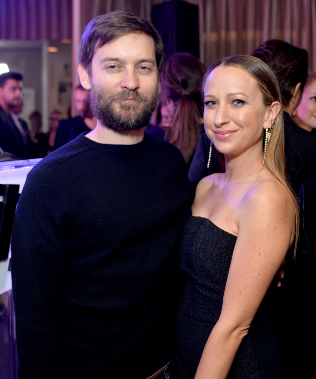 "WEST HOLLYWOOD, CA - MARCH 20:  EXCLUSIVE COVERAGE Actor Tobey Maguire (L) and honoree/jewelry designer Jennifer Meyer attend The Daily Front Row ""Fashion Los Angeles Awards"" 2016 at Sunset Tower Hotel on March 20, 2016 in West Hollywood, California."