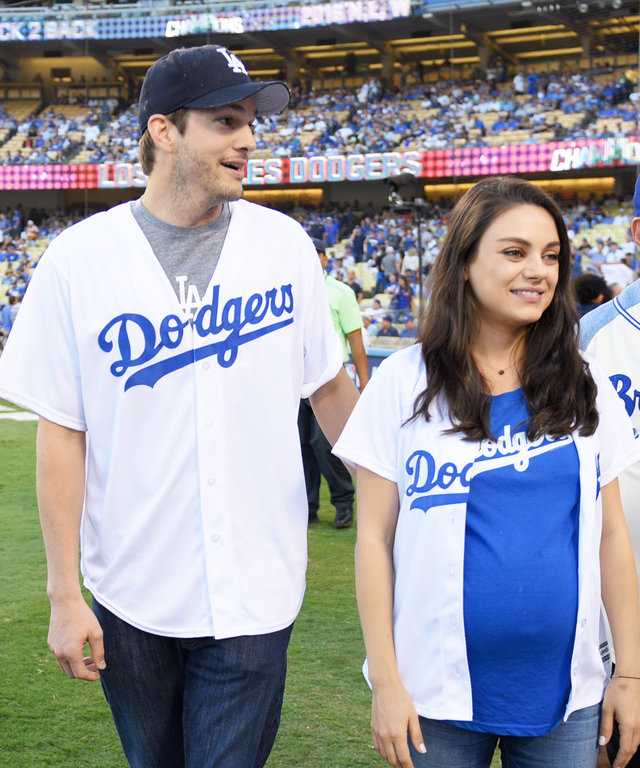 Mila Kunis and Ashton Kutcher Have the Cutest Date Night in Matching Dodgers Jerseys