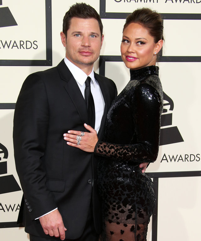 LOS ANGELES, CA - FEBRUARY 15: TV personalities Nick Lachey and Vanessa Lachey attend The 58th GRAMMY Awards at Staples Center on February 15, 2016 in Los Angeles, California. (Photo by Dan MacMedan/WireImage)